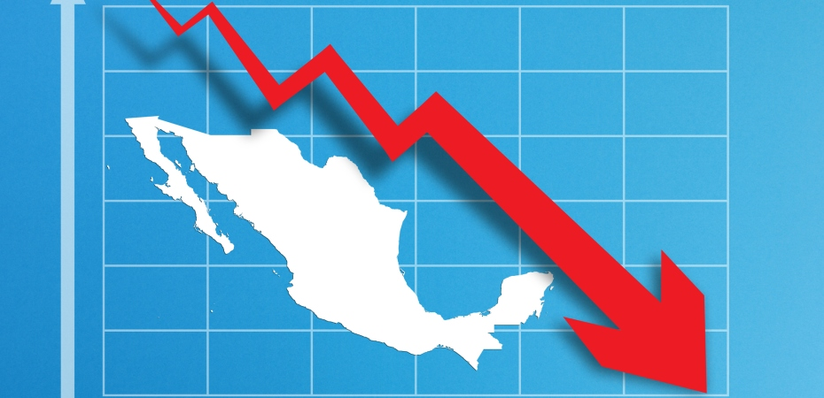 Financial crisis with Mexico map on business chart